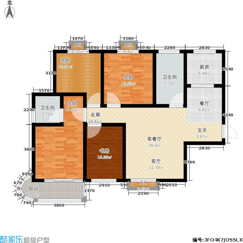 水岸家园131.43㎡4室2厅2卫A12户型4室2厅2卫