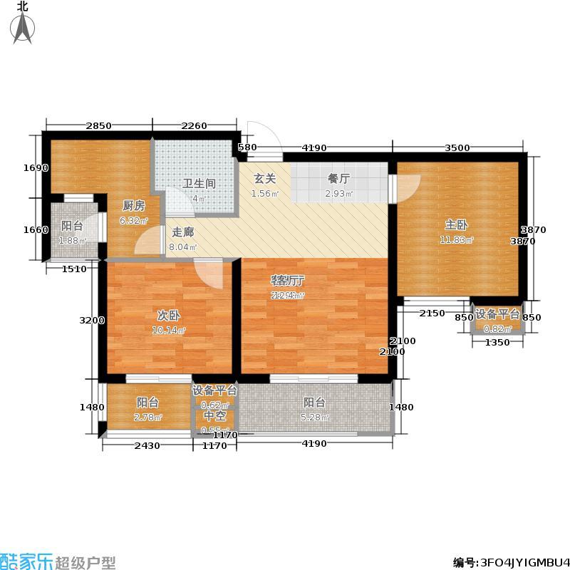 天房翠海红山93.09㎡小高层标准层B户型