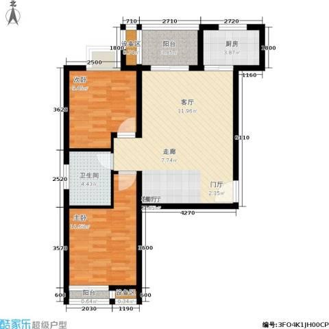 曲江・国风世家2室1厅1卫1厨81.00㎡户型图