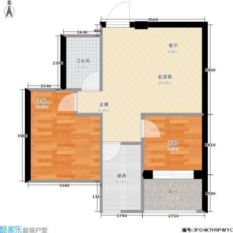 学子园2室0厅1卫1厨66.00㎡户型图