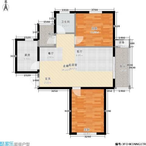 领秀城2室0厅1卫1厨94.00㎡户型图