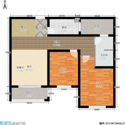 龙成・锦绣花园2室1厅1卫1厨102.00㎡户型图