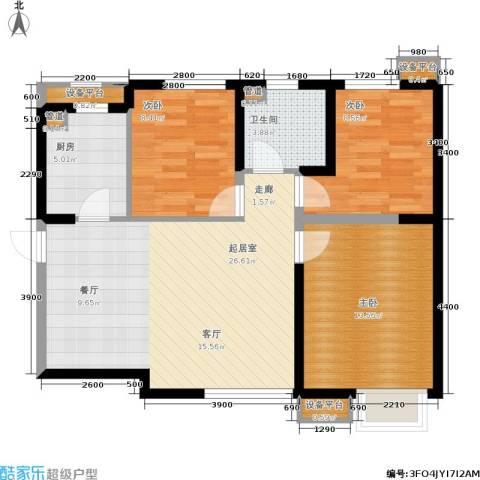 荔城公馆3室0厅1卫1厨98.00㎡户型图