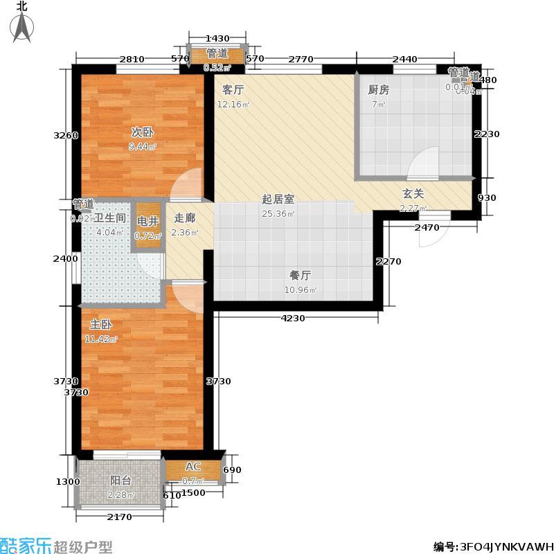 枫丹天城85.00㎡二期高层标准层b2-3-01户型