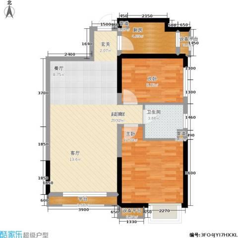 荔城公馆2室0厅1卫1厨88.00㎡户型图