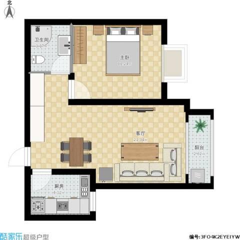 奇尔斯公馆1室1厅1卫1厨61.00㎡户型图