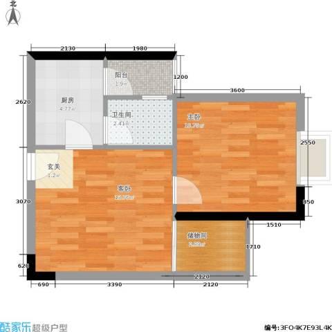启航新时代2室0厅1卫1厨49.00㎡户型图