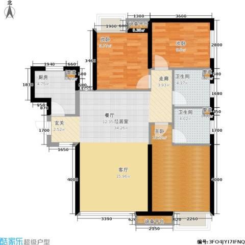荔城公馆3室0厅2卫1厨118.00㎡户型图