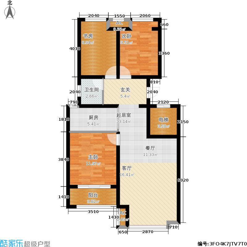 荣盛・香堤荣府99.51㎡A5#楼 C户型3室2厅1卫