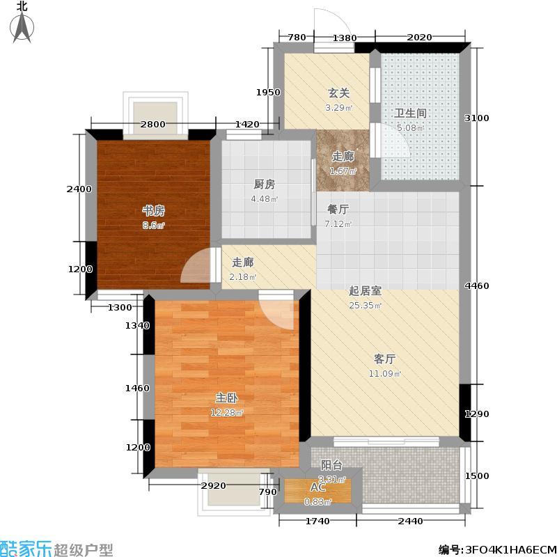 秀山信达城76.00㎡一期1号楼A1户型