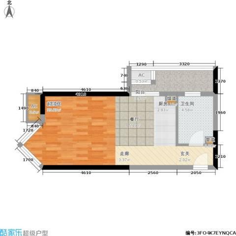 博辉戴河国际1卫0厨57.00㎡户型图