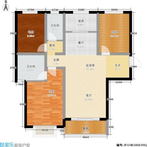翡翠家园3室0厅2卫1厨132.00㎡户型图