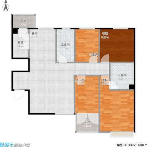融富中心4室1厅2卫1厨98.98㎡户型图