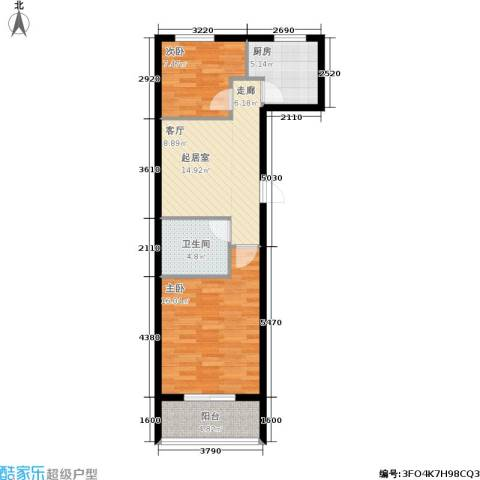学子园2室0厅1卫1厨76.00㎡户型图