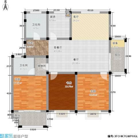 维多莉雅花苑3室1厅2卫1厨167.00㎡户型图