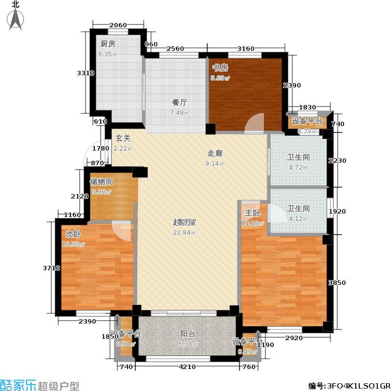 金地格林世界115.00㎡户型3室2厅