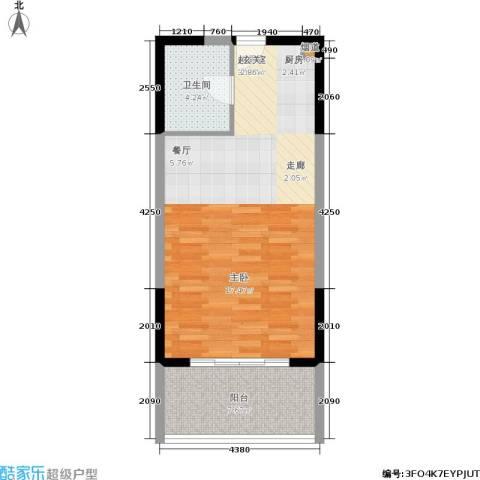 博辉戴河国际1卫0厨60.00㎡户型图