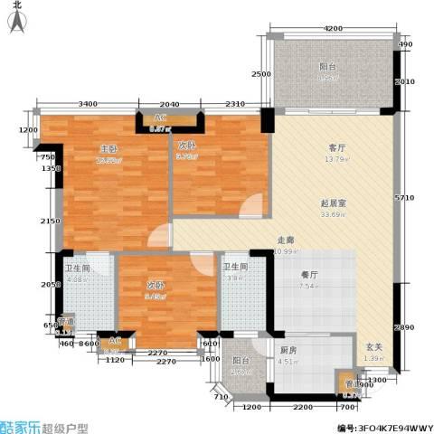 景源公园一号3室0厅2卫1厨134.00㎡户型图
