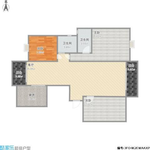 华都名邸3室1厅2卫1厨120.00㎡户型图