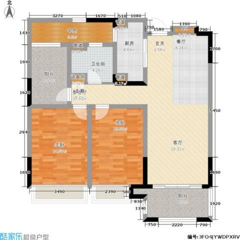 绿地华尔道名邸2室1厅1卫1厨105.00㎡户型图