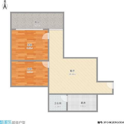 环翠园2室1厅1卫1厨65.00㎡户型图