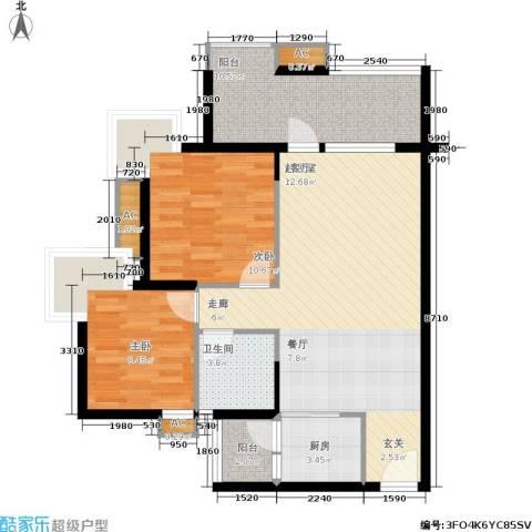 翡翠山湖三期臻萃园2室0厅1卫1厨100.00㎡户型图