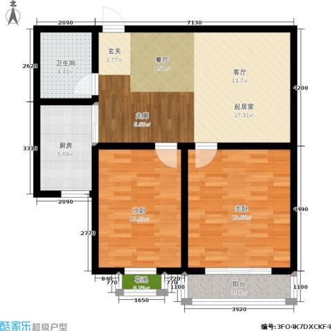 福祉家园二期2室0厅1卫1厨80.00㎡户型图