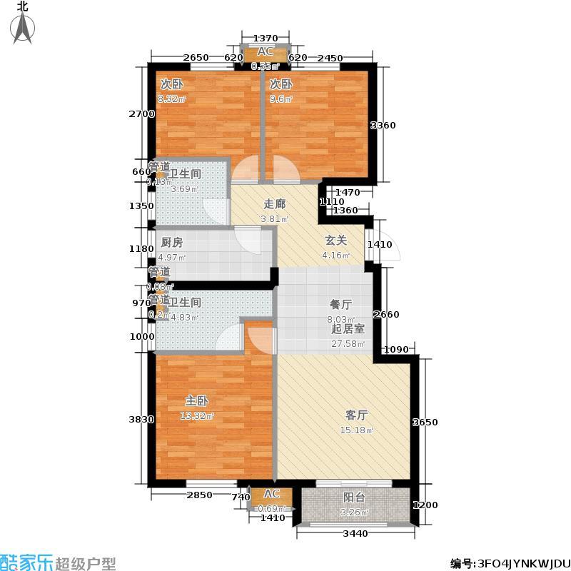 枫丹天城110.00㎡二期高层标准层C1-1-01户型