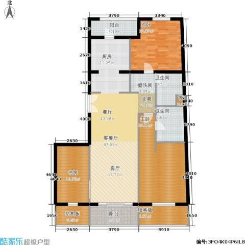 维多莉亚花园公寓3室1厅2卫0厨136.00㎡户型图