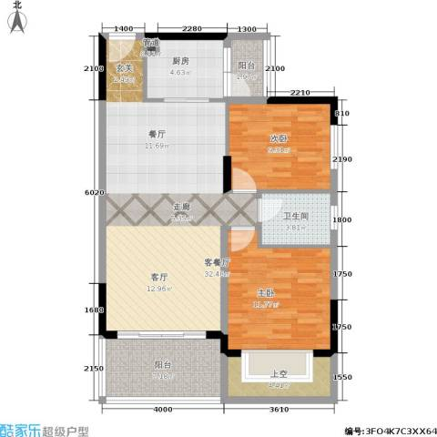 广物锦绣东方2室1厅1卫1厨108.00㎡户型图