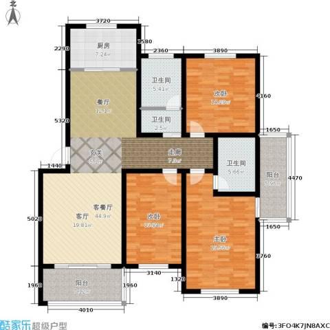 龙成・锦绣花园3室1厅3卫1厨144.00㎡户型图