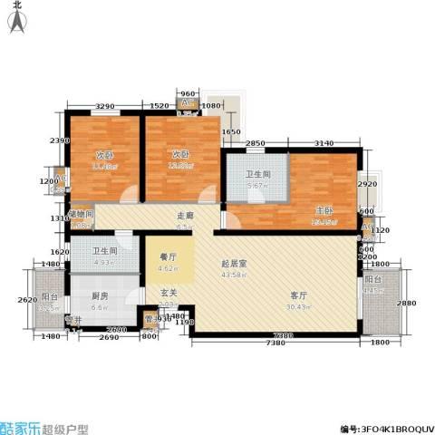 亚太世纪花园3室0厅2卫1厨123.60㎡户型图