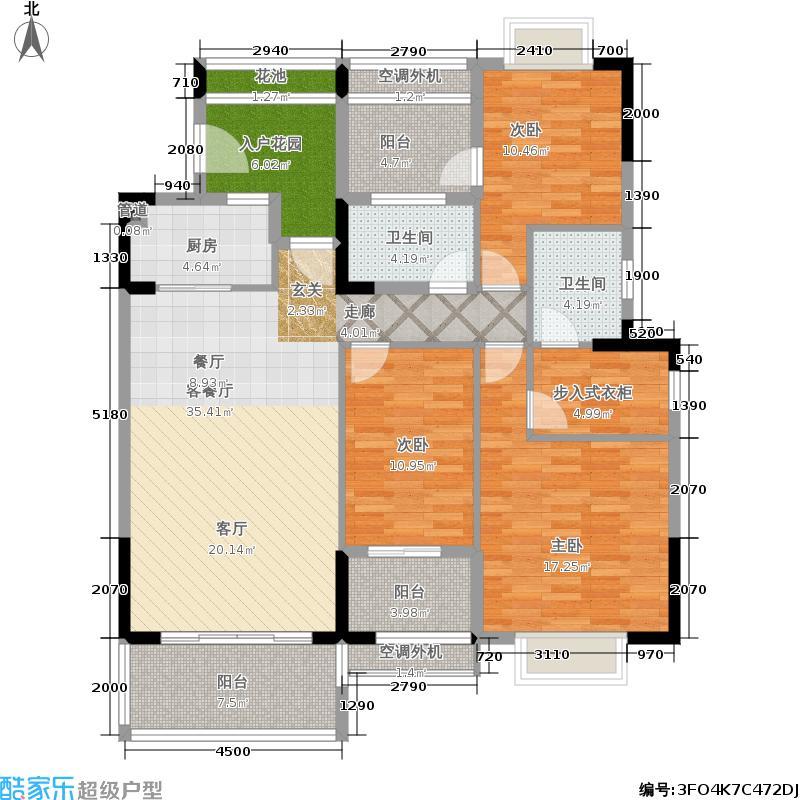 广物锦绣东方141.31平米三房户型3室3厅1卫