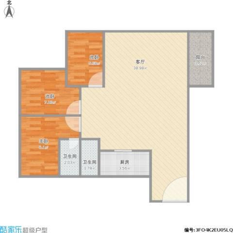 金湖雅苑3室1厅2卫1厨96.00㎡户型图
