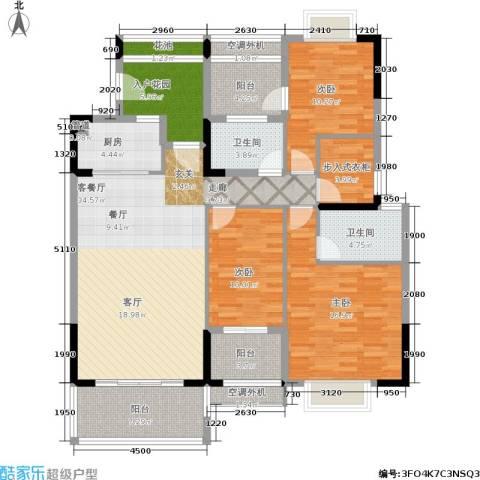 广物锦绣东方3室1厅2卫1厨164.00㎡户型图