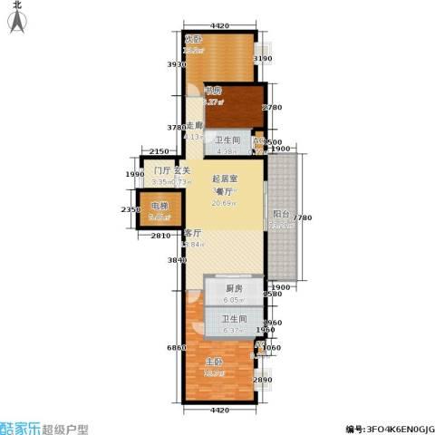 万科紫台3室0厅2卫1厨140.00㎡户型图