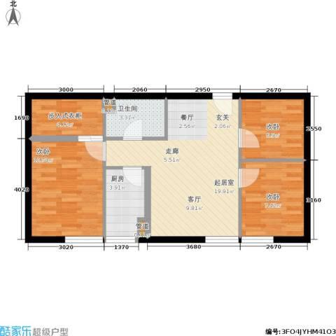 东北角艺术公寓3室0厅1卫1厨96.00㎡户型图