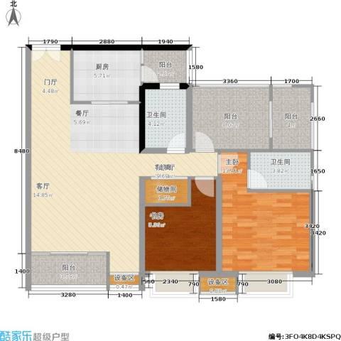 圣苑塞纳阳光曦岸2室1厅2卫1厨104.61㎡户型图