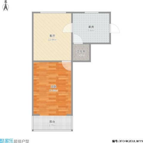 戴家巷小区1室1厅1卫1厨54.00㎡户型图