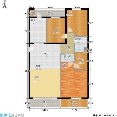 维多莉亚花园公寓3室1厅2卫1厨154.00㎡户型图