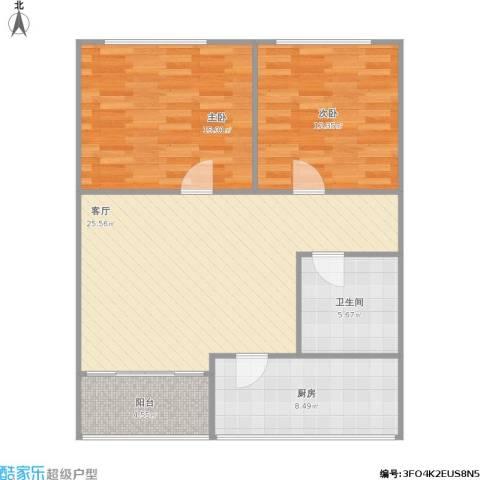 融鑫园小区2室1厅1卫1厨96.00㎡户型图