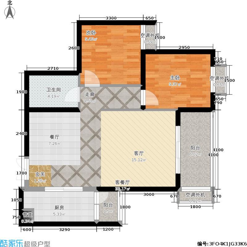 阳光台36589.99㎡3号楼C户型2室2厅