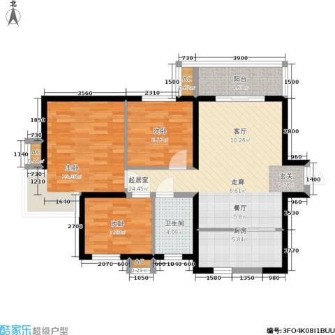 锦翔梧桐坊3室0厅1卫1厨97.00㎡户型图