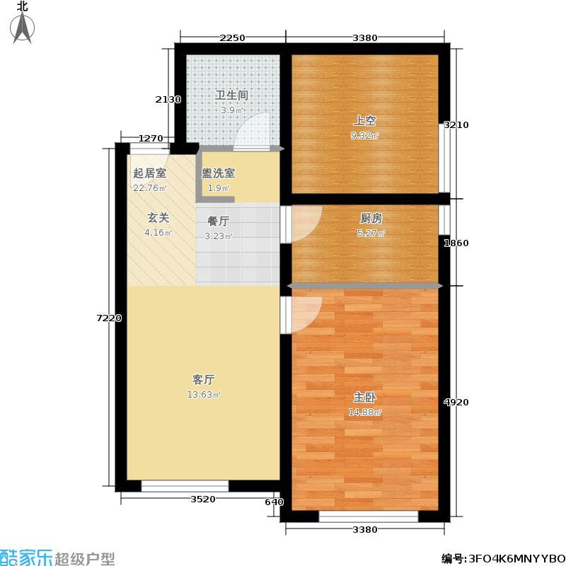 万科金奥国际64.00㎡C1 一室二厅一卫 64平米户型