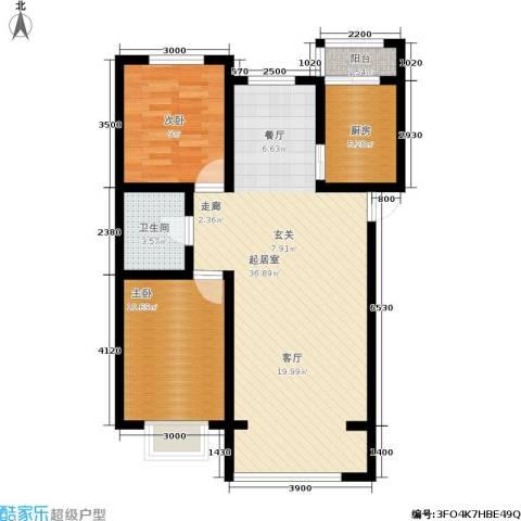 水木清华2室0厅1卫1厨96.00㎡户型图