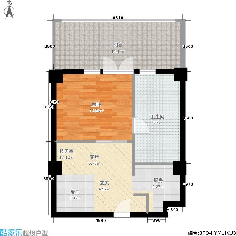 唐华公馆60.00㎡一期8号楼标准层A户型