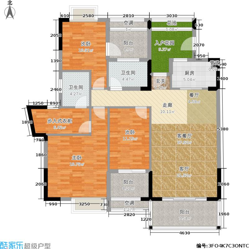 广物锦绣东方143.43㎡143.43平米 三房二厅二卫户型3室2厅2卫