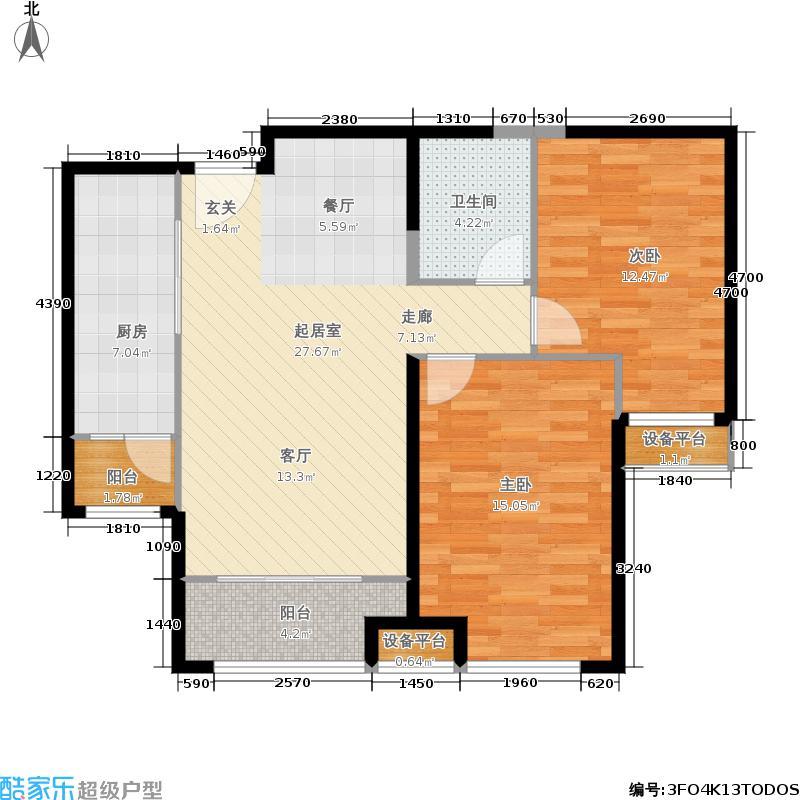 竞杰常青藤101.41㎡B`2户型2室2厅