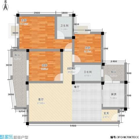 水岸新城3室0厅2卫1厨118.00㎡户型图