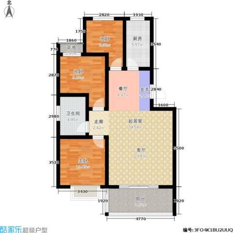 天筑新都花园3室0厅1卫1厨116.00㎡户型图